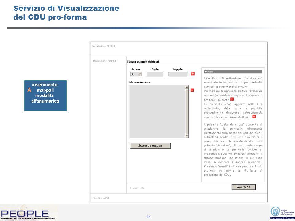 14 Servizio di Visualizzazione del CDU pro-forma inserimento mappali modalità alfanumerica A