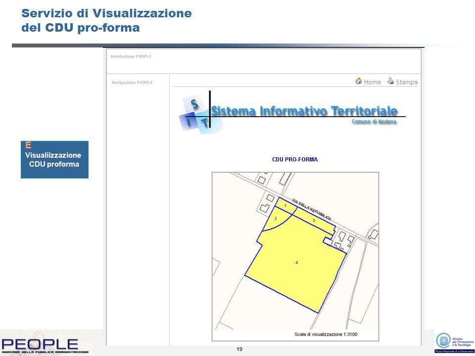19 Servizio di Visualizzazione del CDU pro-forma Visualiizzazione CDU proforma E