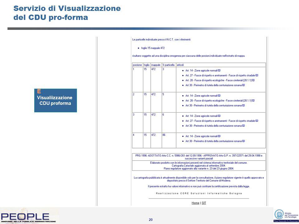 20 Servizio di Visualizzazione del CDU pro-forma Visualiizzazione CDU proforma E