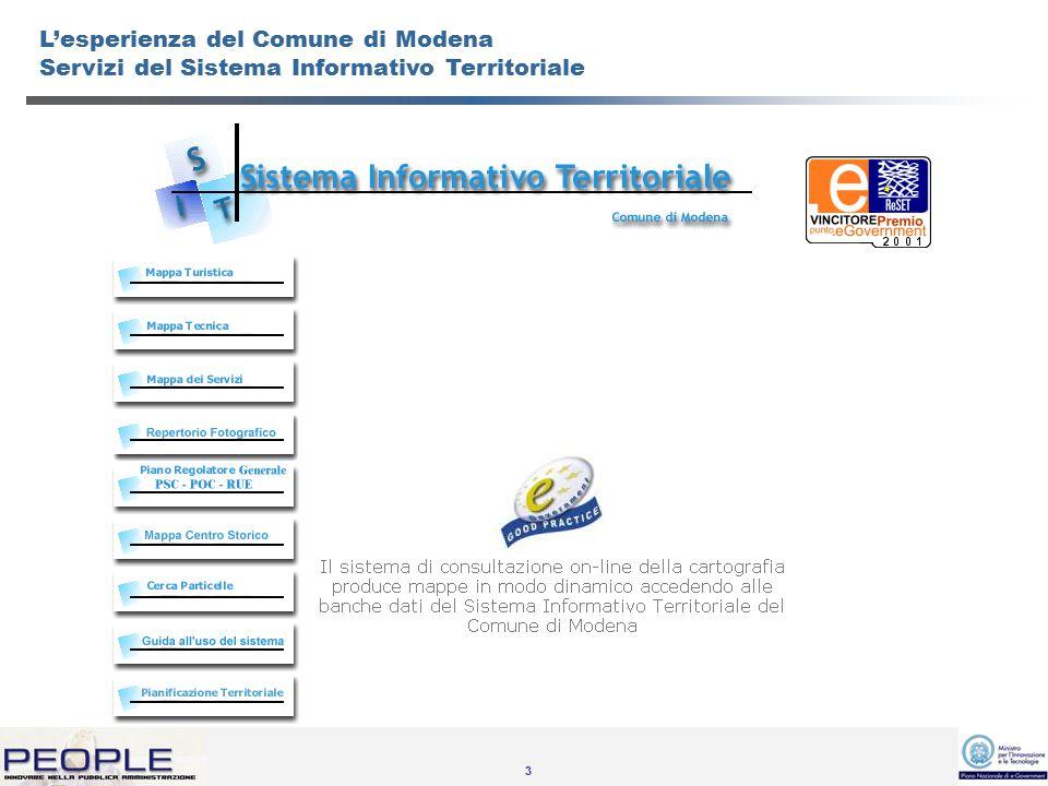 4 L'esperienza del Comune di Modena Servizi della pianificazione territoriale