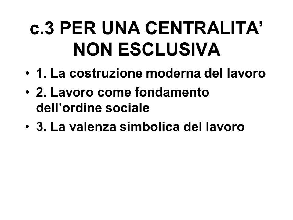 c.3 PER UNA CENTRALITA' NON ESCLUSIVA 1. La costruzione moderna del lavoro 2.