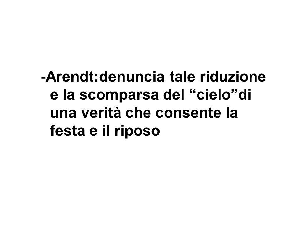 -Arendt:denuncia tale riduzione e la scomparsa del cielo di una verità che consente la festa e il riposo
