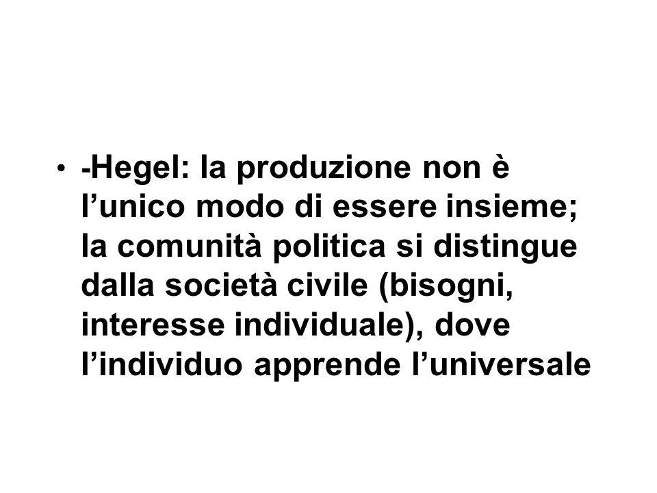 - Hegel: la produzione non è l'unico modo di essere insieme; la comunità politica si distingue dalla società civile (bisogni, interesse individuale), dove l'individuo apprende l'universale