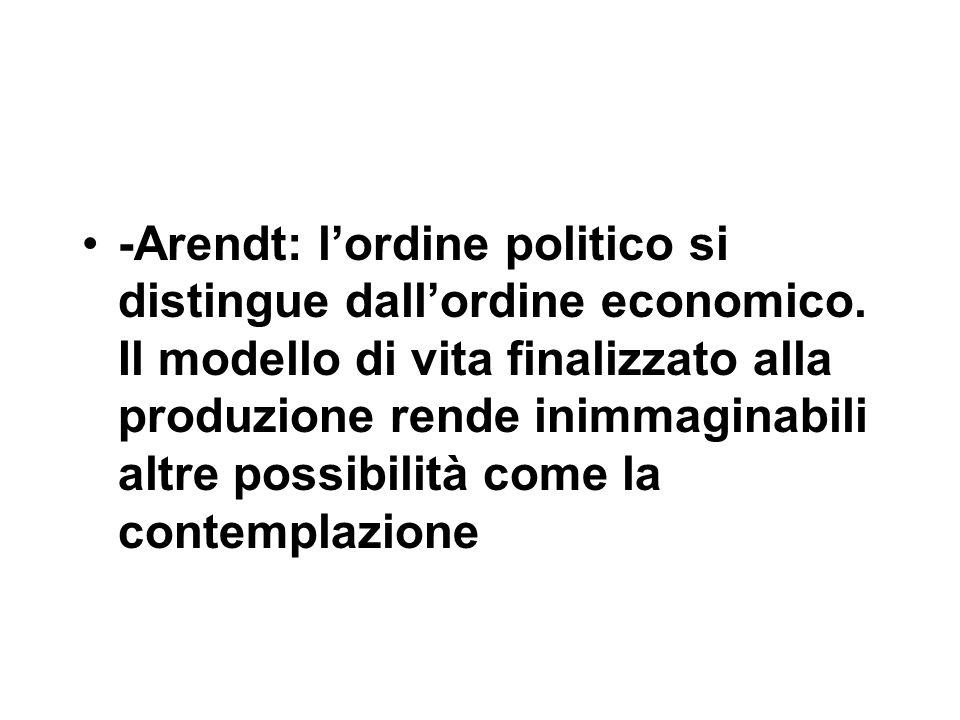 -Arendt: l'ordine politico si distingue dall'ordine economico.