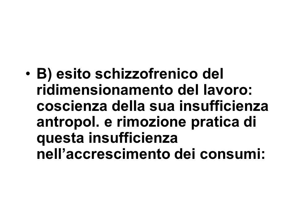 B) esito schizzofrenico del ridimensionamento del lavoro: coscienza della sua insufficienza antropol.