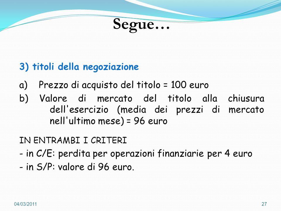 3) titoli della negoziazione a) Prezzo di acquisto del titolo = 100 euro b) Valore di mercato del titolo alla chiusura dell esercizio (media dei prezzi di mercato nell ultimo mese) = 96 euro IN ENTRAMBI I CRITERI - in C/E: perdita per operazioni finanziarie per 4 euro - in S/P: valore di 96 euro.