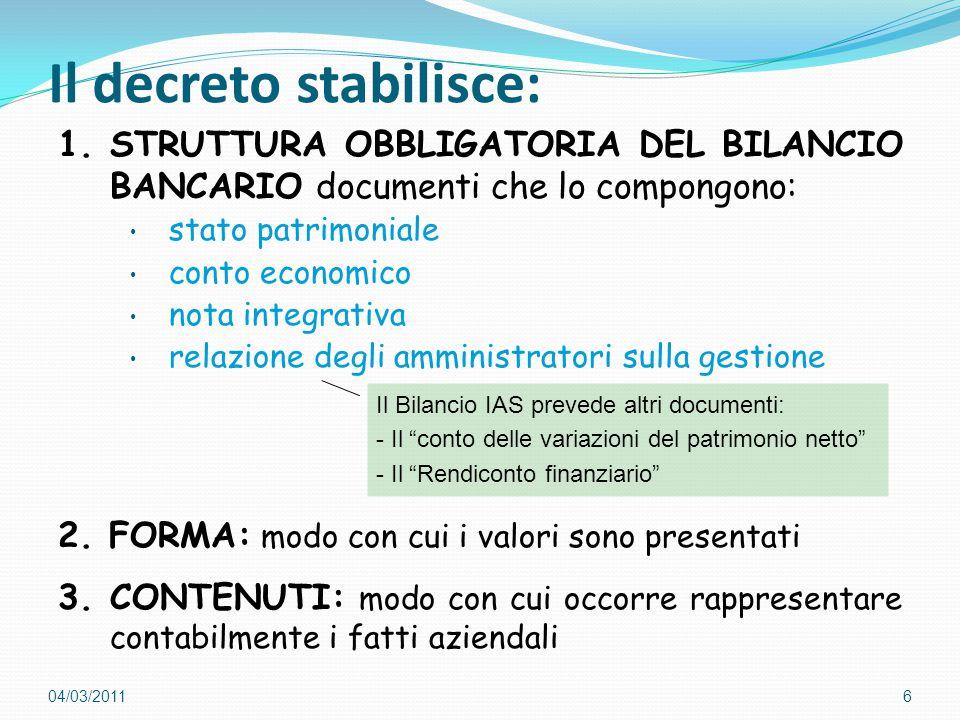 Il decreto stabilisce: 1.STRUTTURA OBBLIGATORIA DEL BILANCIO BANCARIO documenti che lo compongono: stato patrimoniale conto economico nota integrativa