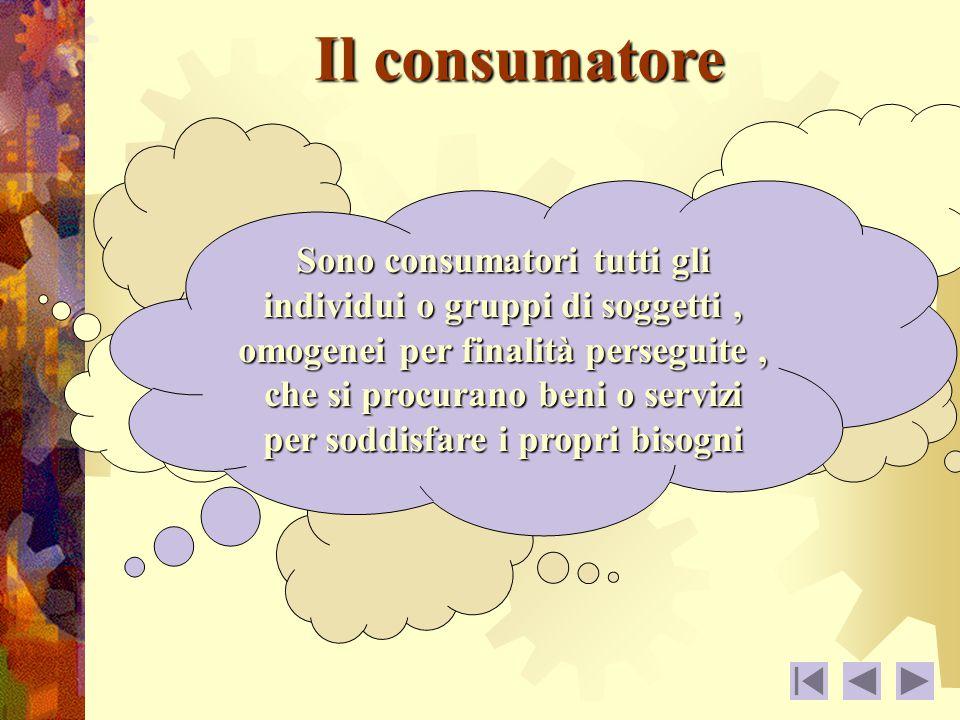 Il consumatore Sono consumatori tutti gli individui o gruppi di soggetti, omogenei per finalità perseguite, che si procurano beni o servizi per soddisfare i propri bisogni