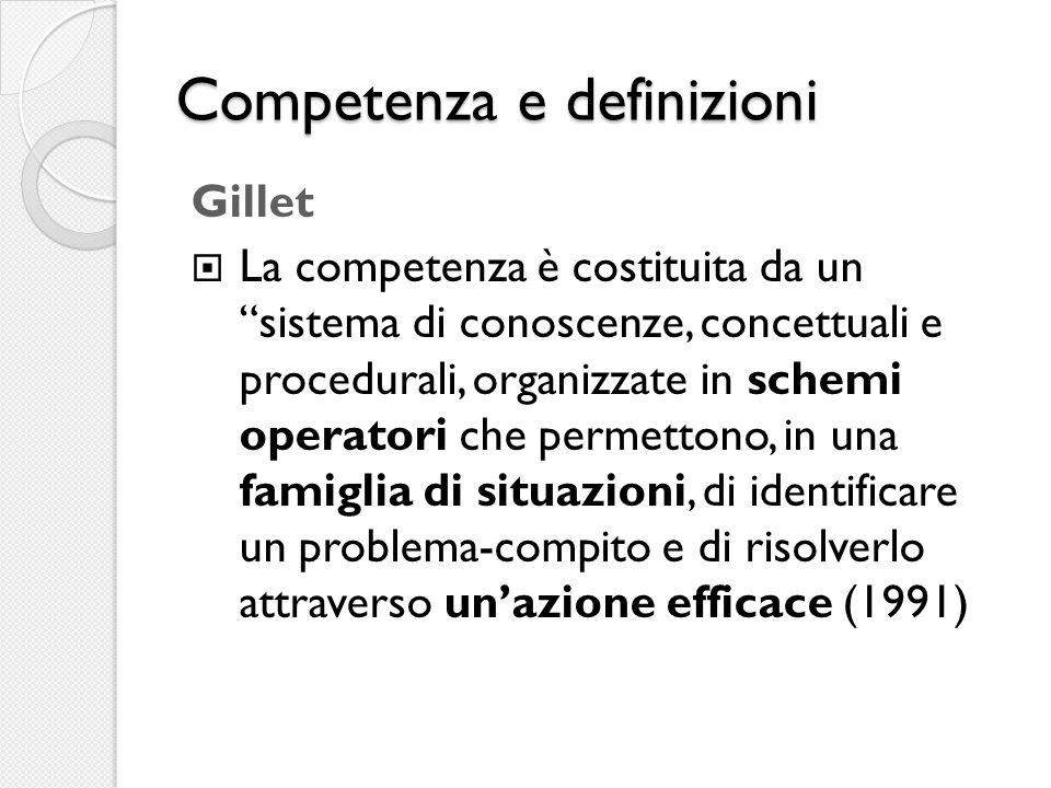 Competenza e definizioni Gillet  La competenza è costituita da un sistema di conoscenze, concettuali e procedurali, organizzate in schemi operatori che permettono, in una famiglia di situazioni, di identificare un problema-compito e di risolverlo attraverso un'azione efficace (1991)