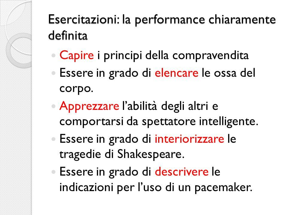 Esercitazioni: la performance chiaramente definita Capire i principi della compravendita Essere in grado di elencare le ossa del corpo.