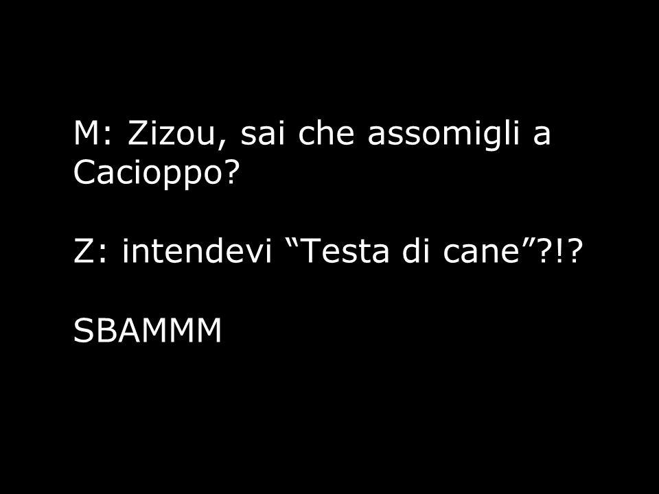 "M: Zizou, sai che assomigli a Cacioppo? Z: intendevi ""Testa di cane""?!? SBAMMM"