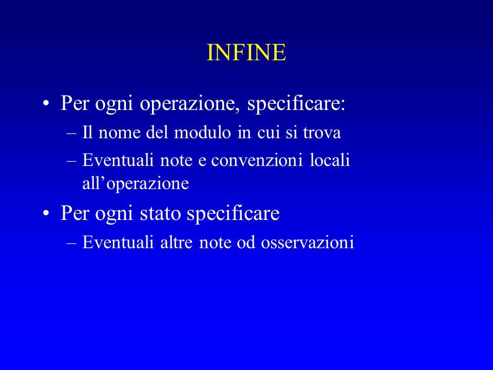 INFINE Per ogni operazione, specificare: –Il nome del modulo in cui si trova –Eventuali note e convenzioni locali all'operazione Per ogni stato specificare –Eventuali altre note od osservazioni