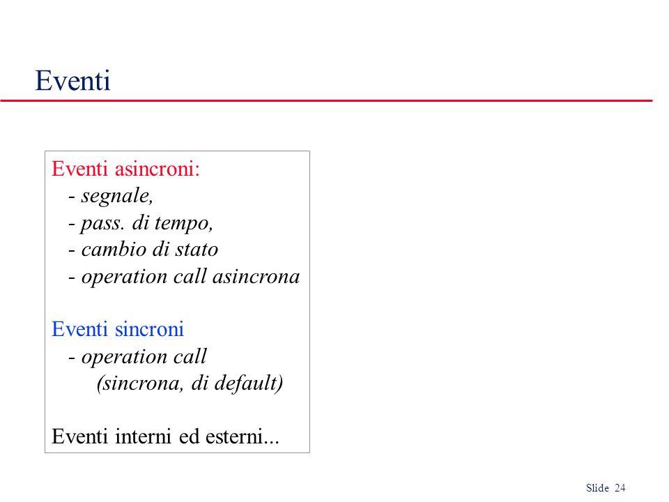 Slide 24 Eventi Eventi asincroni: - segnale, - pass.