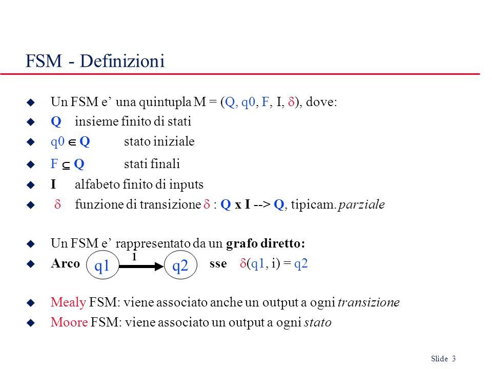 Slide 3 FSM - Definizioni  Un FSM e' una quintupla M = (Q, q0, F, I,  ), dove:  Qinsieme finito di stati  q0  Qstato iniziale  F  Q stati finali  Ialfabeto finito di inputs   funzione di transizione  : Q x I --> Q, tipicam.