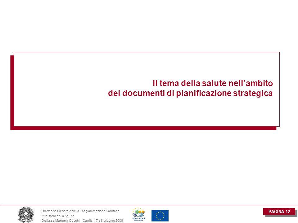 PAGINA 12 Direzione Generale della Programmazione Sanitaria Ministero della Salute Dott.ssa Manuela Cocchi – Cagliari, 7 e 8 giugno 2006 Il tema della salute nell'ambito dei documenti di pianificazione strategica