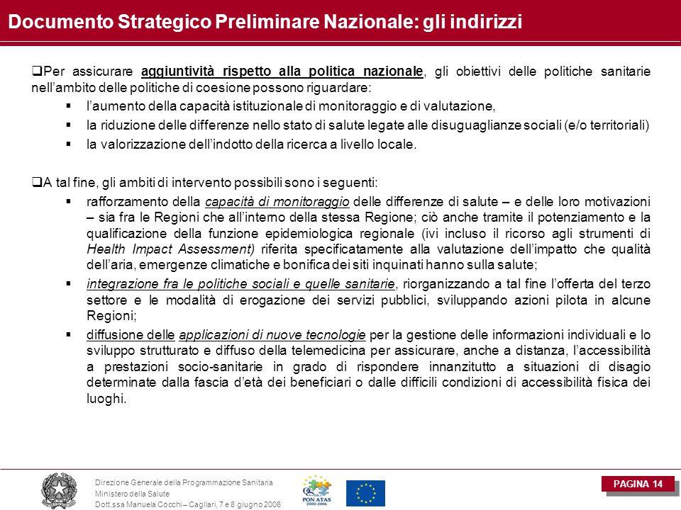 PAGINA 14 Direzione Generale della Programmazione Sanitaria Ministero della Salute Dott.ssa Manuela Cocchi – Cagliari, 7 e 8 giugno 2006 Documento Str