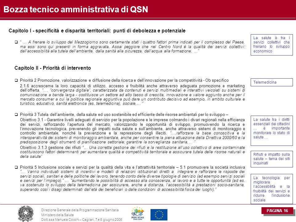 PAGINA 16 Direzione Generale della Programmazione Sanitaria Ministero della Salute Dott.ssa Manuela Cocchi – Cagliari, 7 e 8 giugno 2006 Bozza tecnico