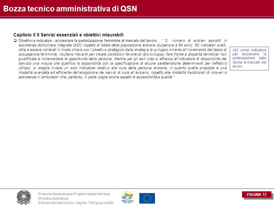 PAGINA 17 Direzione Generale della Programmazione Sanitaria Ministero della Salute Dott.ssa Manuela Cocchi – Cagliari, 7 e 8 giugno 2006 Bozza tecnico