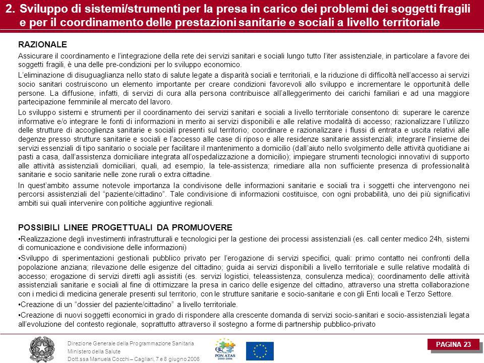 PAGINA 23 Direzione Generale della Programmazione Sanitaria Ministero della Salute Dott.ssa Manuela Cocchi – Cagliari, 7 e 8 giugno 2006 2.Sviluppo di