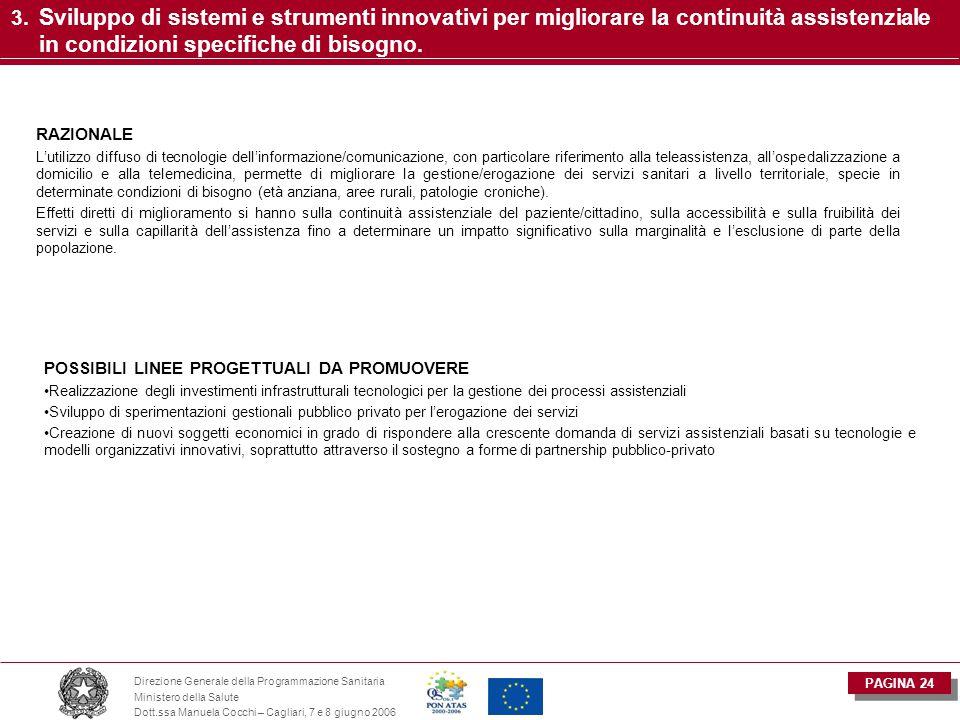 PAGINA 24 Direzione Generale della Programmazione Sanitaria Ministero della Salute Dott.ssa Manuela Cocchi – Cagliari, 7 e 8 giugno 2006 3. Sviluppo d