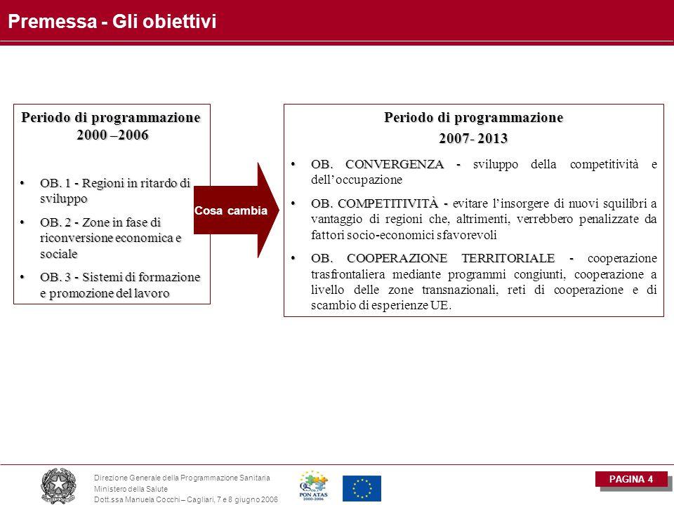 PAGINA 5 Direzione Generale della Programmazione Sanitaria Ministero della Salute Dott.ssa Manuela Cocchi – Cagliari, 7 e 8 giugno 2006 Premessa - Obiettivi e criteri di ammissibilità Convergenza  Regioni con PIL p/c < 75% media comunitaria  Regioni che superano il 75% Pil p/c per l' effetto statistico  Regioni ultraperiferiche ( Azzorre, Madera, Canarie e Dipartimenti francesi d'oltremare)  Stati membri con RNL < 90% media comunitaria (Fondo coesione) Competitività regionale e occupazione  Regioni non ammissibili ai programmi di convergenza e indicate dagli SM  Regioni uscite dall'Ob.1 indicate dagli SM Cooperazione territoriale  Regioni transfrontaliere, zone di cooperazione transnazionale indicate dalla  Commissione.