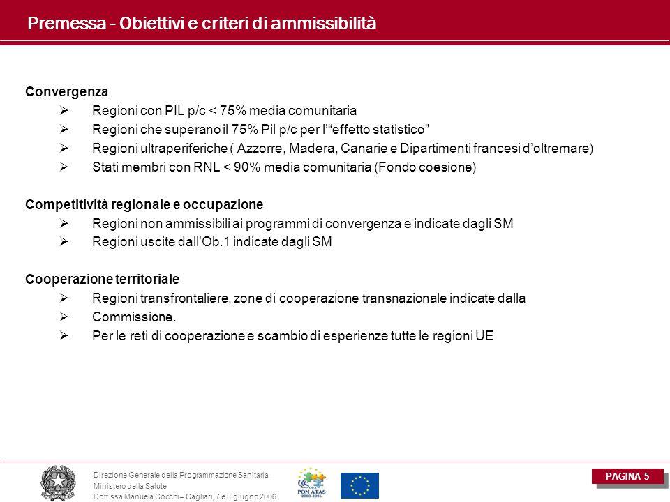 PAGINA 5 Direzione Generale della Programmazione Sanitaria Ministero della Salute Dott.ssa Manuela Cocchi – Cagliari, 7 e 8 giugno 2006 Premessa - Obi