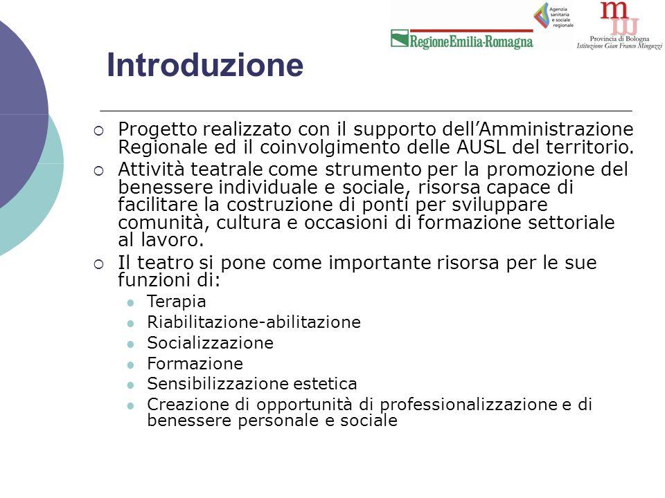 Il progetto Teatro e salute mentale  Dicembre 2008: avvio del progetto regionale Teatro e salute mentale , che coinvolge i DSM di diverse Aziende sanitarie della Regione Emilia-Romagna.