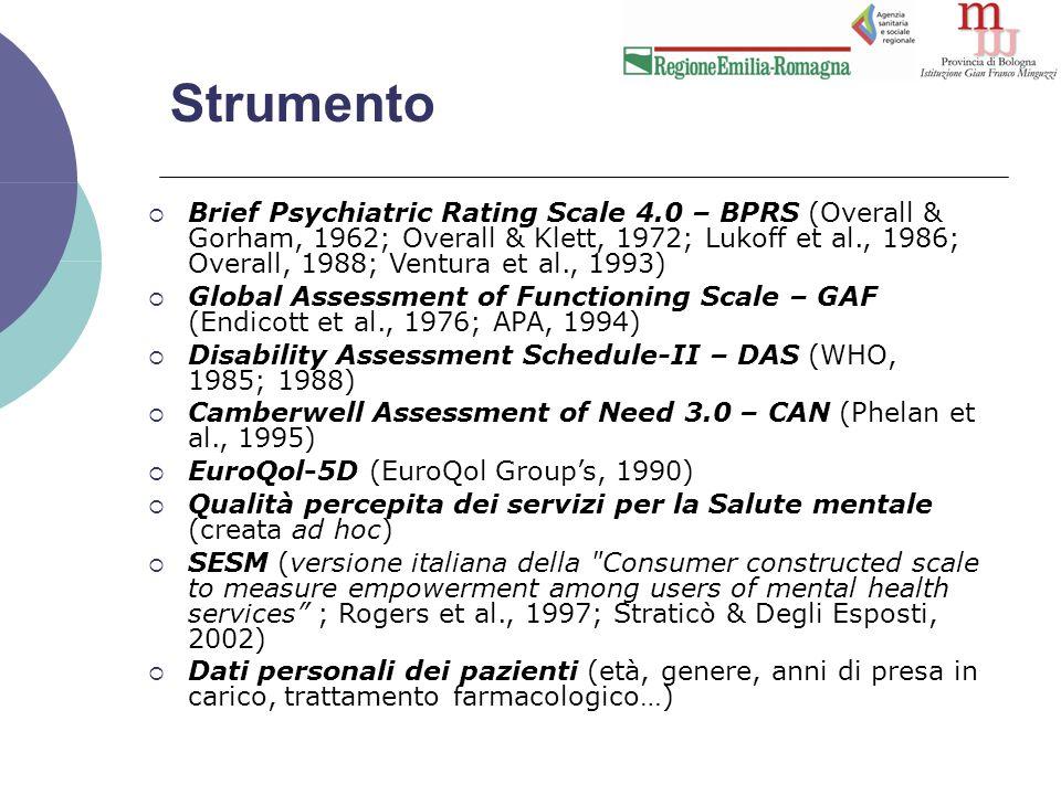 Strumento  Brief Psychiatric Rating Scale 4.0 – BPRS (Overall & Gorham, 1962; Overall & Klett, 1972; Lukoff et al., 1986; Overall, 1988; Ventura et al., 1993)  Global Assessment of Functioning Scale – GAF (Endicott et al., 1976; APA, 1994)  Disability Assessment Schedule-II – DAS (WHO, 1985; 1988)  Camberwell Assessment of Need 3.0 – CAN (Phelan et al., 1995)  EuroQol-5D (EuroQol Group's, 1990)  Qualità percepita dei servizi per la Salute mentale (creata ad hoc)  SESM (versione italiana della Consumer constructed scale to measure empowerment among users of mental health services ; Rogers et al., 1997; Straticò & Degli Esposti, 2002)  Dati personali dei pazienti (età, genere, anni di presa in carico, trattamento farmacologico…)