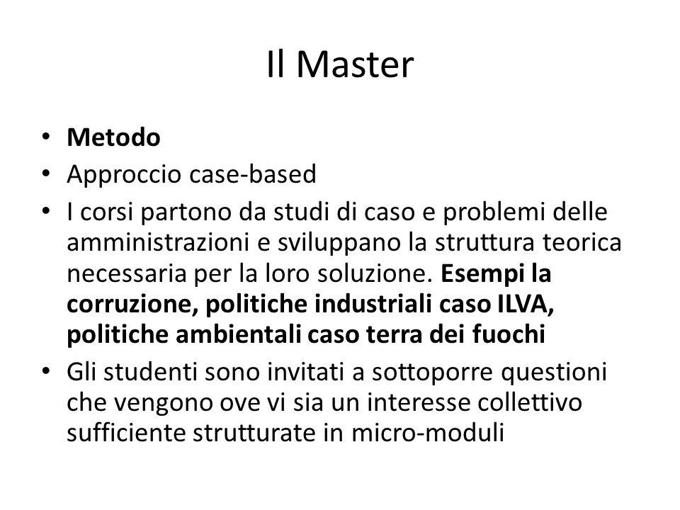 Il Master Metodo Approccio case-based I corsi partono da studi di caso e problemi delle amministrazioni e sviluppano la struttura teorica necessaria p