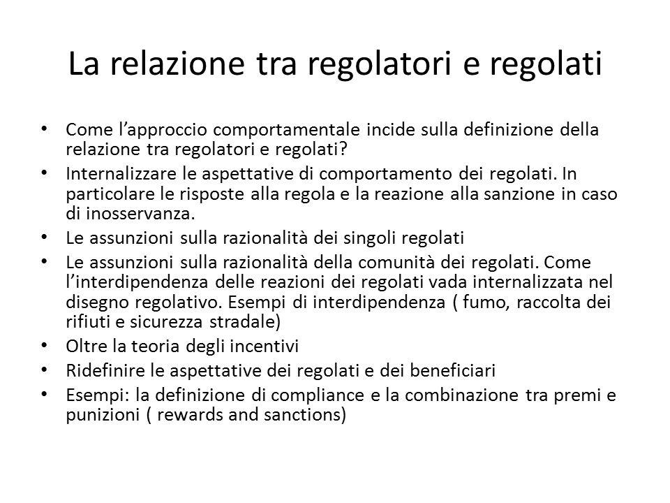 La relazione tra regolatori e regolati Come l'approccio comportamentale incide sulla definizione della relazione tra regolatori e regolati? Internaliz