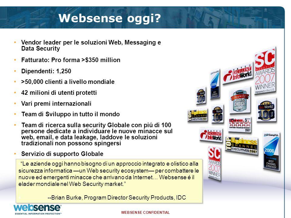 WEBSENSE CONFIDENTIAL Websense oggi.