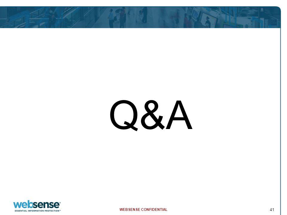 WEBSENSE CONFIDENTIAL 41 Q&A