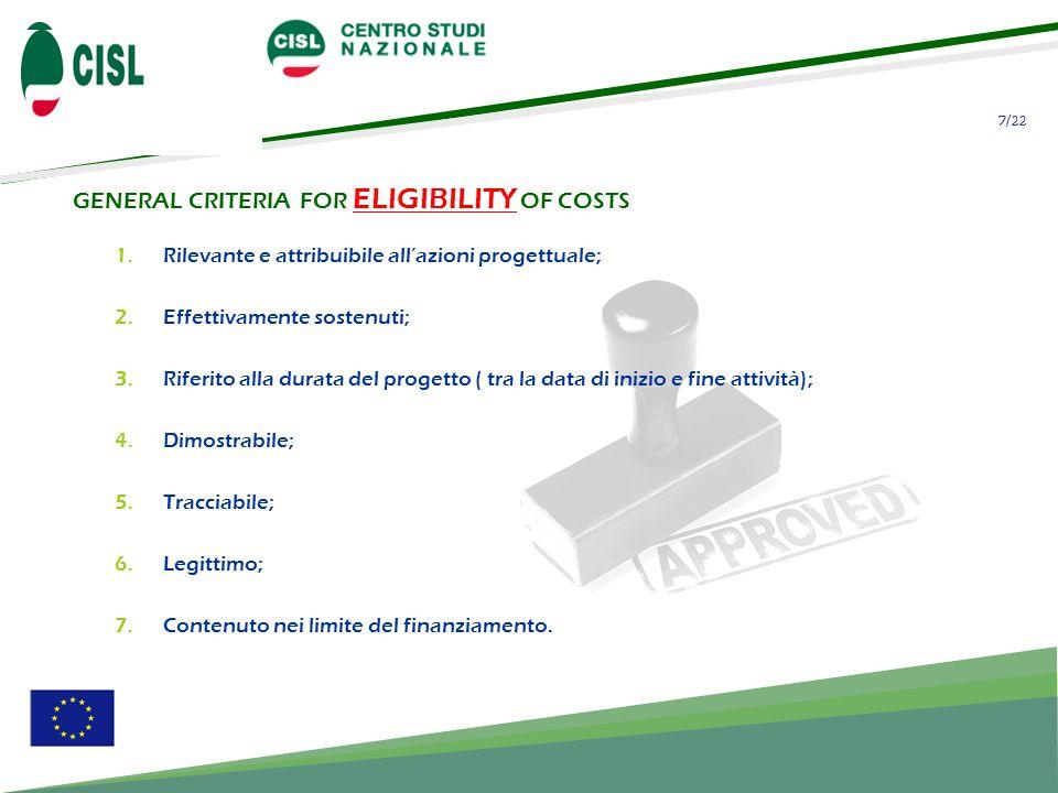 7/22 GENERAL CRITERIA FOR ELIGIBILITY OF COSTS 1.Rilevante e attribuibile all'azioni progettuale; 2.Effettivamente sostenuti; 3.Riferito alla durata del progetto ( tra la data di inizio e fine attività); 4.Dimostrabile; 5.Tracciabile; 6.Legittimo; 7.Contenuto nei limite del finanziamento.