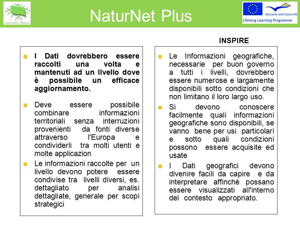 NaturNet Plus INSPIRE I Dati dovrebbero essere raccolti una volta e mantenuti ad un livello dove è possibile un efficace aggiornamento.