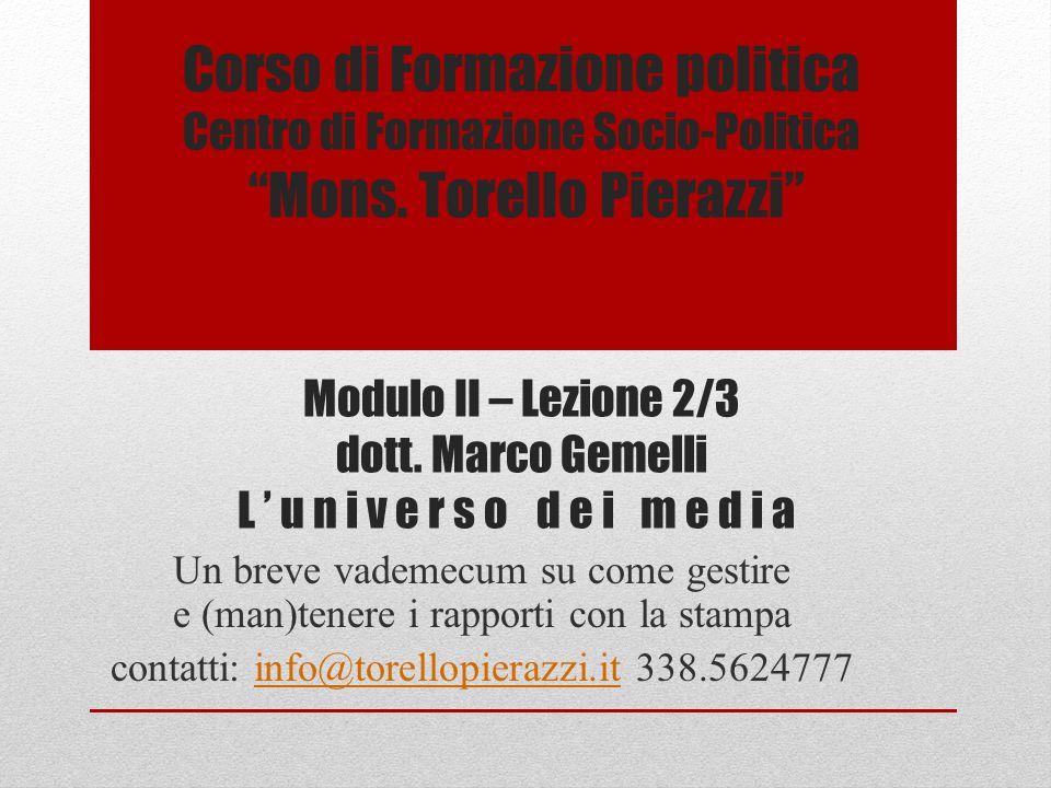 Corso di Formazione politica Centro di Formazione Socio-Politica Mons.