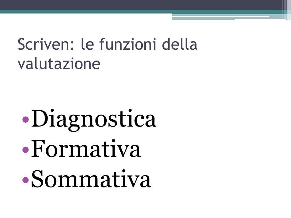 Scriven: le funzioni della valutazione Diagnostica Formativa Sommativa
