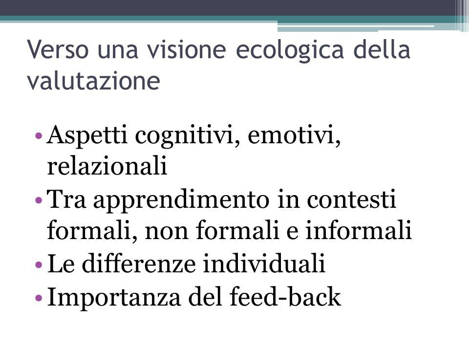 Verso una visione ecologica della valutazione Aspetti cognitivi, emotivi, relazionali Tra apprendimento in contesti formali, non formali e informali Le differenze individuali Importanza del feed-back