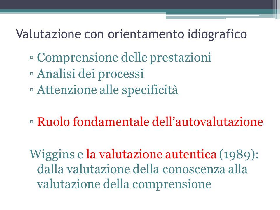 Valutazione con orientamento idiografico ▫Comprensione delle prestazioni ▫Analisi dei processi ▫Attenzione alle specificità ▫Ruolo fondamentale dell'autovalutazione Wiggins e la valutazione autentica (1989): dalla valutazione della conoscenza alla valutazione della comprensione