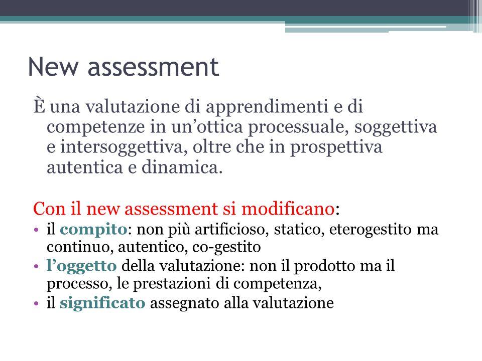 New assessment È una valutazione di apprendimenti e di competenze in un'ottica processuale, soggettiva e intersoggettiva, oltre che in prospettiva autentica e dinamica.