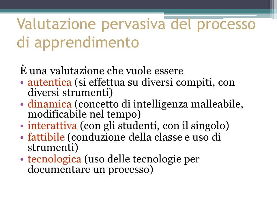 Valutazione pervasiva del processo di apprendimento È una valutazione che vuole essere autentica (si effettua su diversi compiti, con diversi strumenti) dinamica (concetto di intelligenza malleabile, modificabile nel tempo) interattiva (con gli studenti, con il singolo) fattibile (conduzione della classe e uso di strumenti) tecnologica (uso delle tecnologie per documentare un processo)