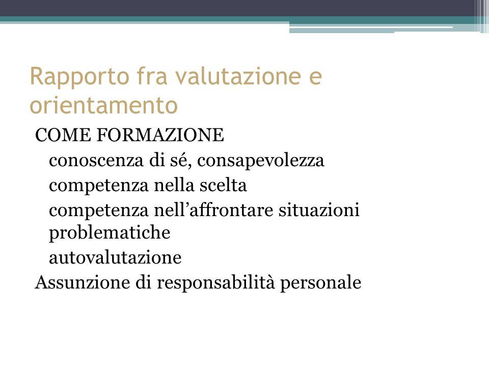Rapporto fra valutazione e orientamento COME FORMAZIONE conoscenza di sé, consapevolezza competenza nella scelta competenza nell'affrontare situazioni problematiche autovalutazione Assunzione di responsabilità personale