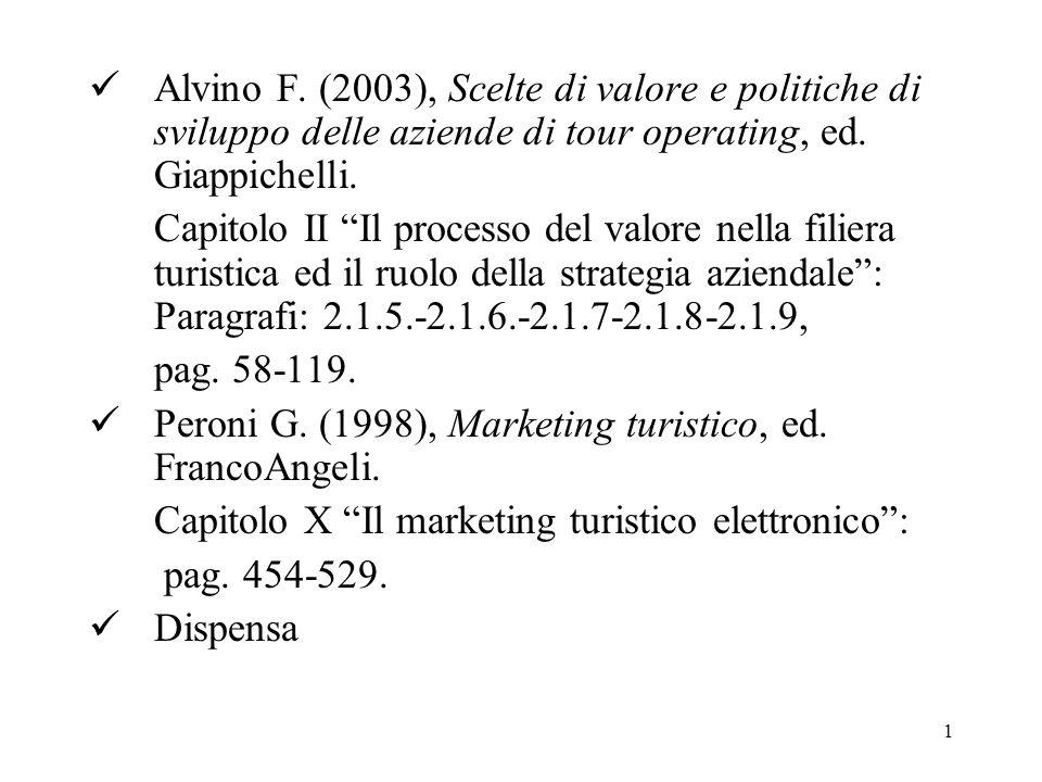 1 Alvino F.(2003), Scelte di valore e politiche di sviluppo delle aziende di tour operating, ed.