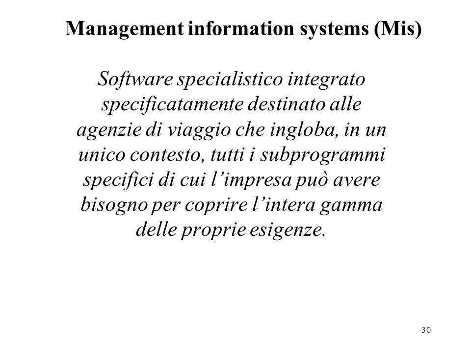 30 Management information systems (Mis) Software specialistico integrato specificatamente destinato alle agenzie di viaggio che ingloba, in un unico contesto, tutti i subprogrammi specifici di cui l'impresa può avere bisogno per coprire l'intera gamma delle proprie esigenze.