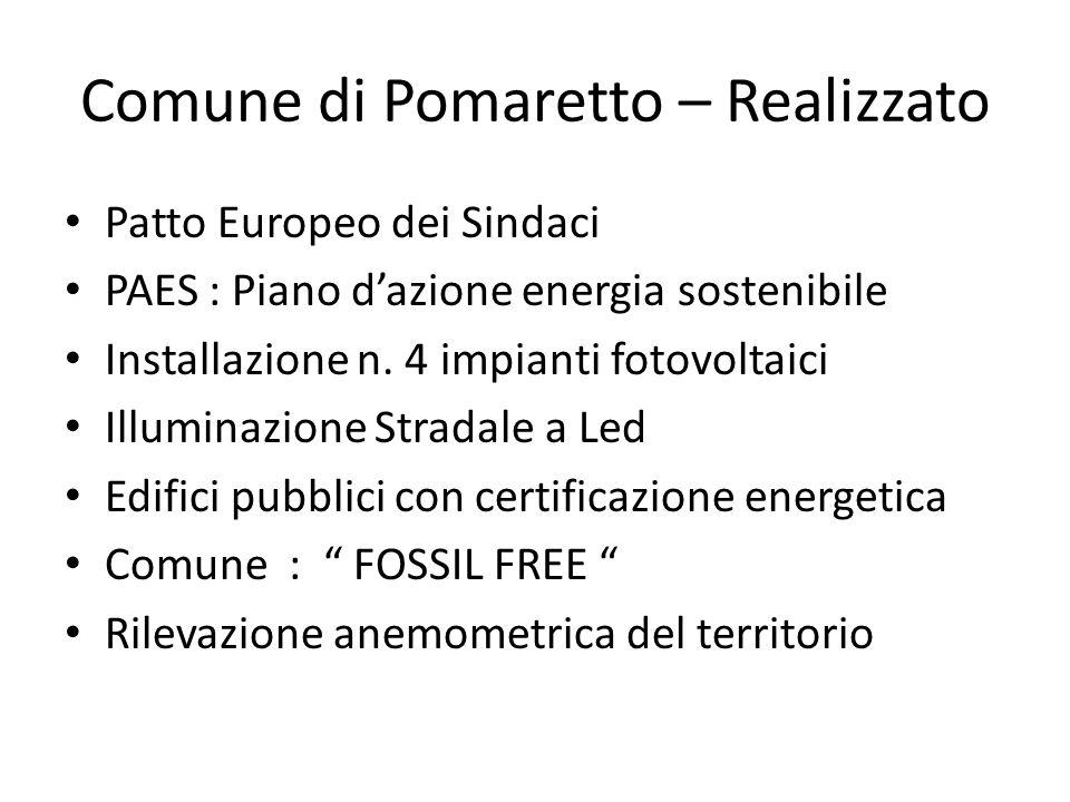 Comune di Pomaretto – Realizzato Patto Europeo dei Sindaci PAES : Piano d'azione energia sostenibile Installazione n.