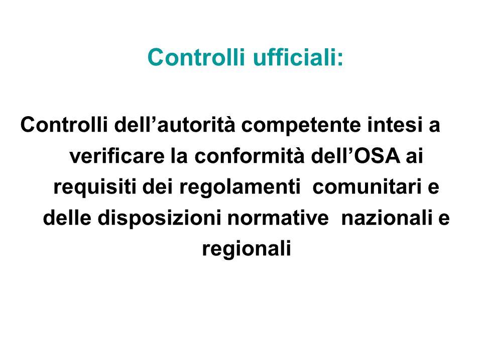 Controlli ufficiali: Controlli dell'autorità competente intesi a verificare la conformità dell'OSA ai requisiti dei regolamenti comunitari e delle disposizioni normative nazionali e regionali