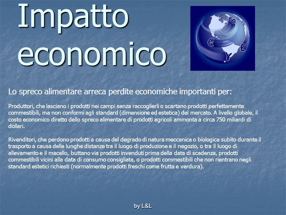 by L&L Impatto economico Lo spreco alimentare arreca perdite economiche importanti per: Produttori, che lasciano i prodotti nei campi senza raccoglier