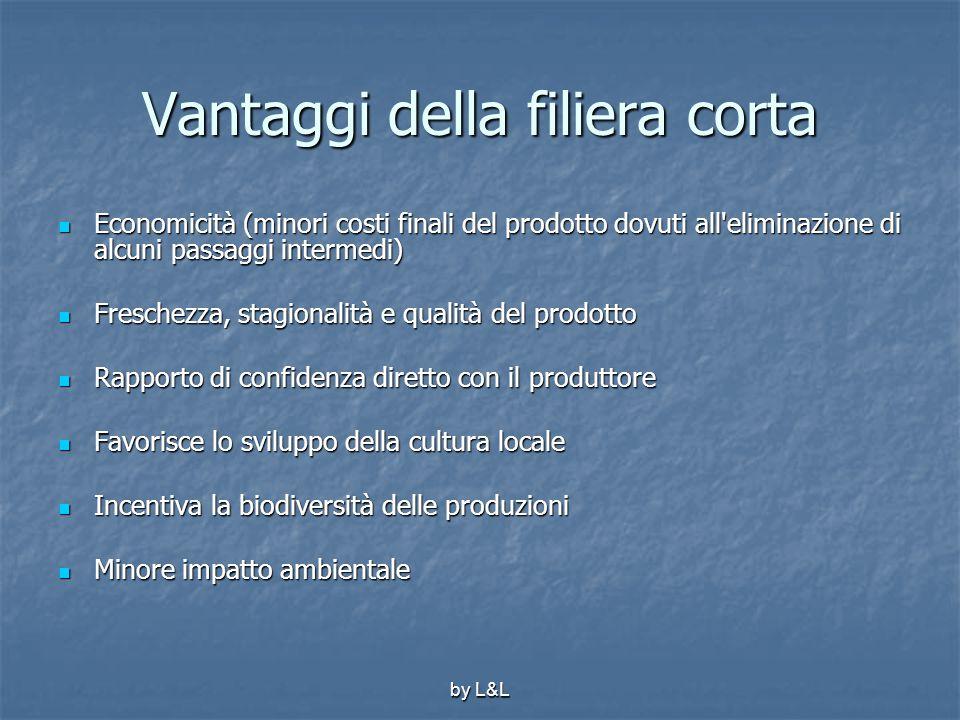 by L&L Vantaggi della filiera corta Economicità (minori costi finali del prodotto dovuti all'eliminazione di alcuni passaggi intermedi) Economicità (m