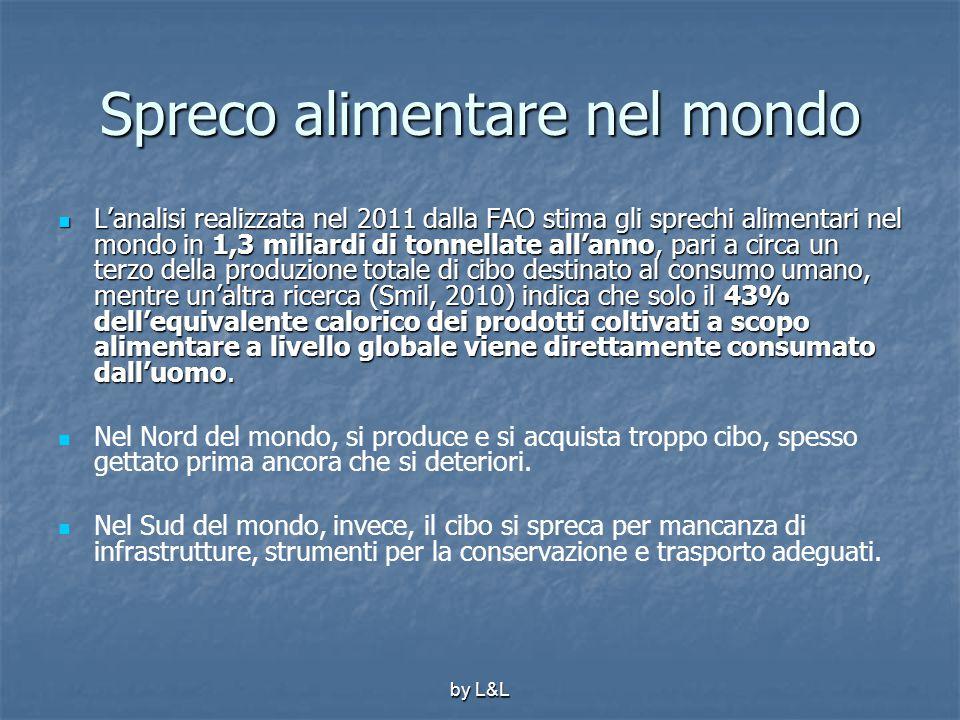 by L&L Spreco alimentare nel mondo L'analisi realizzata nel 2011 dalla FAO stima gli sprechi alimentari nel mondo in 1,3 miliardi di tonnellate all'an
