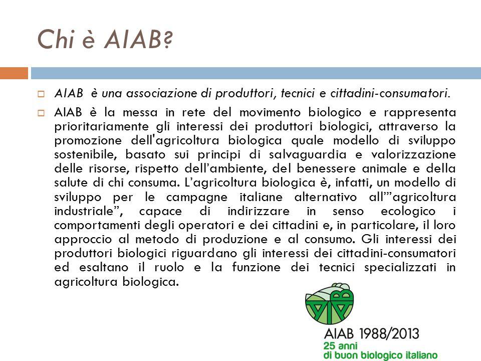 Chi è AIAB ?  AIAB è una associazione di produttori, tecnici e cittadini-consumatori.  AIAB è la messa in rete del movimento biologico e rappresenta