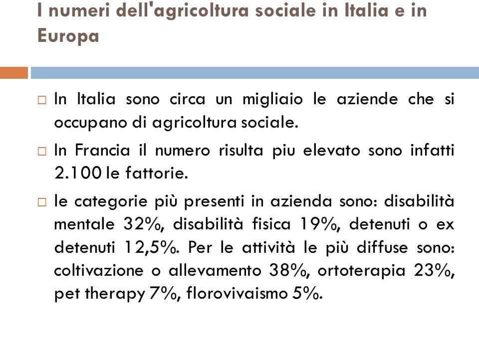 I numeri dell agricoltura sociale in Italia e in Europa  In Italia sono circa un migliaio le aziende che si occupano di agricoltura sociale.